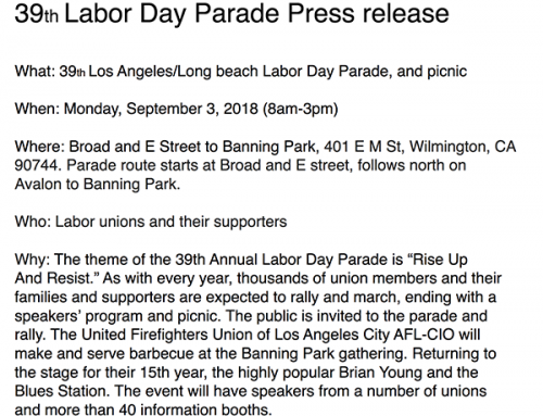 39th Labor Day Parade Press release