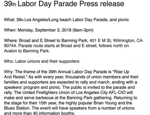 39th Labor Day Parade Press release